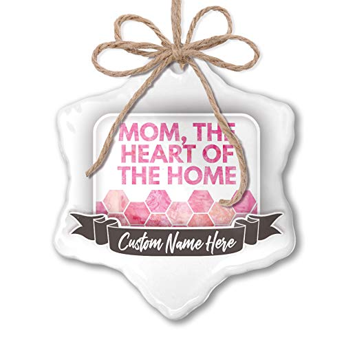 NEONBLOND Create Your Ornament Mom, The Heart of The Home Mother's Day Watercolor Honeycomb Pink ()