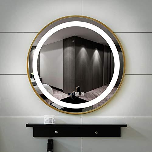 LED Intelligent Light Mirror Round Bathroom Vanity Mirror, Wall Mount + Rack -