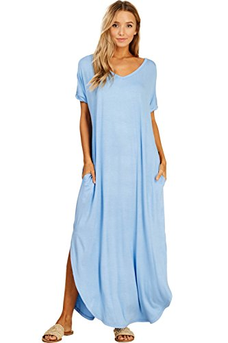 Annabelle Women's Casual Short Sleeve Curved Hem Split Pocket Maxi Dresses Indigo Blue Small D5210