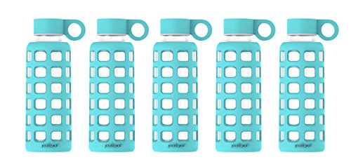 (purifyou Premium Glass Water Bottle with Silicone Sleeve & Stainless Steel Lid Insert, 12/22/32 oz (5 Pack Aqua Blue, 12 oz))