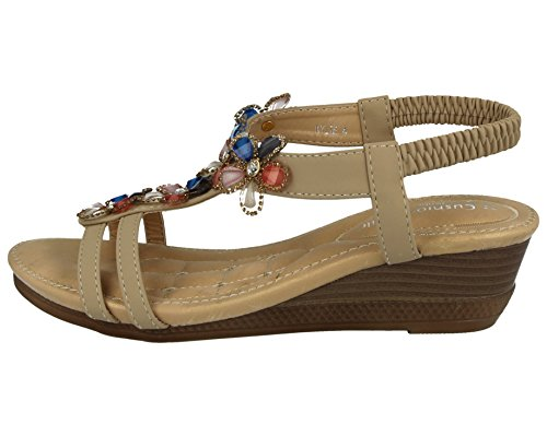 Ladies Cushion Walk T-Bar Jewel Multi Flower Sling Back Low Wedge Peep Toe Summer Sandals Size 3-8 Beige HK2P9QDqBK