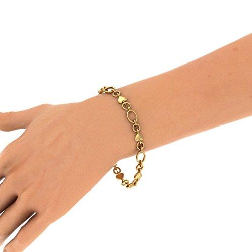 Or jaune 18K, 0,045CT TW Round-cut-diamond (Ij| SI) Identification-bracelets