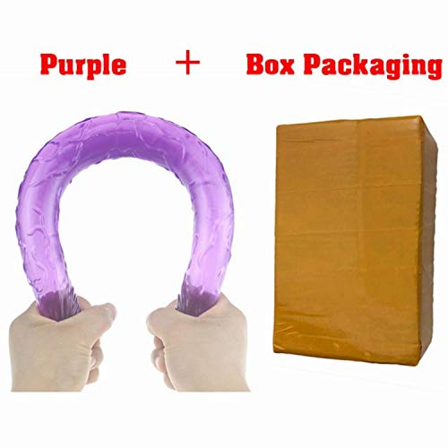 Bihghui Shirt 17 Inch Long Flexible Jelly Double Dildo Women Vagina Anal Stimulate Double Ended Dildo Lesbian Penis Sex Products No Vibration Purple Box Package