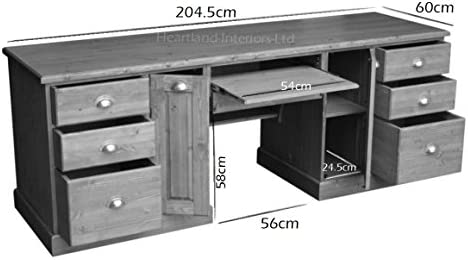 Madera de pino maciza escritorio, doble Pedestal, tamaño grande ...