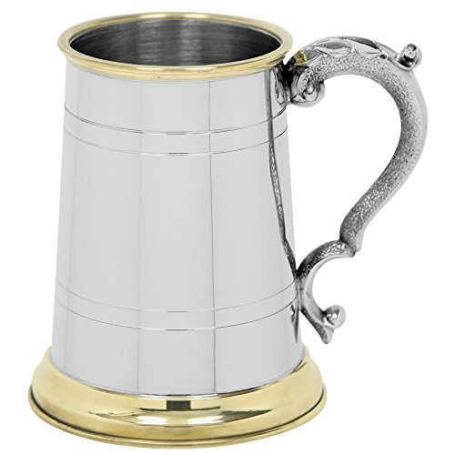 English Pewter Company 1 Pint Pewter Beer Mug Tankard With Elegant Brass Details [EP049]
