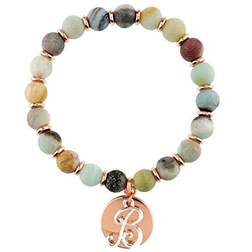 c Charm Semi Precious Stone Stretch Bracelet (B-Gold) (Monogram Initial Bracelet)