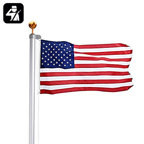 Aluminum Sectional Flag Pole Kit with 3'x5' American Flag Gold Ball Kit for Hardware Outdoor Garden School Halyard Pole Hardware 16FT,20FT,25FT,Silver (20FT)