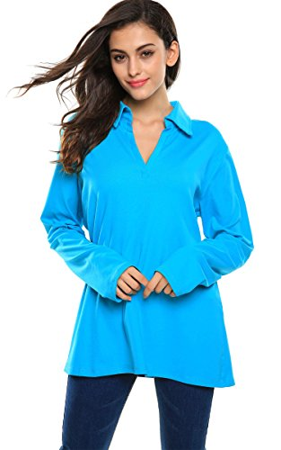 Meaneor Women's V Neck Ruched Gathered Raglan Long Sleeve Blouse Blue L (Cotton Gathered Blouse)