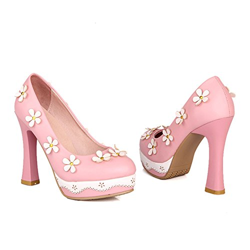 Low Thick Platform Heel Thin High Round pink Flower cut Splicing Shoes 6rrgX7pwxq