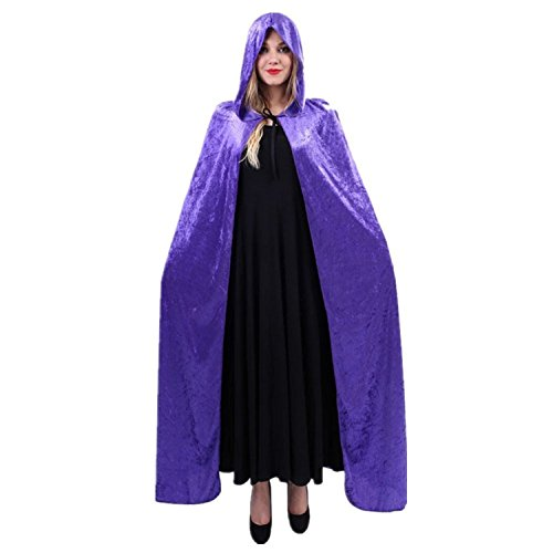 [Women Halloween Costume Velvet Hooded Cloak Dress up Cosplay Wizard Party Capes Purple] (Purple Hooded Cape)