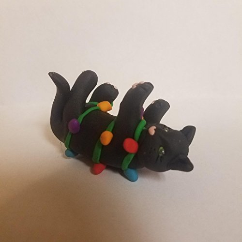 BLACK Cat CHRISTMAS ORNAMENT Tangled in Christmas Lights Hand Made Polymer Clay ()
