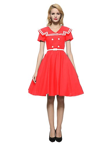 Red Large Xuanku Women's Party Holiday Vintage Sheath Swing DressSolid V Neck Knee-length Short Sleeves Cotton Spandex All Seasons Mid Rise Micro-elastic