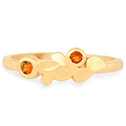LoveHuang 0.09 Carats Genuine Madeira Citrine Minimalist Ring Solid .925 Sterling Silver With 18KT Yellow Gold (Madeira Citrine Gemstone)