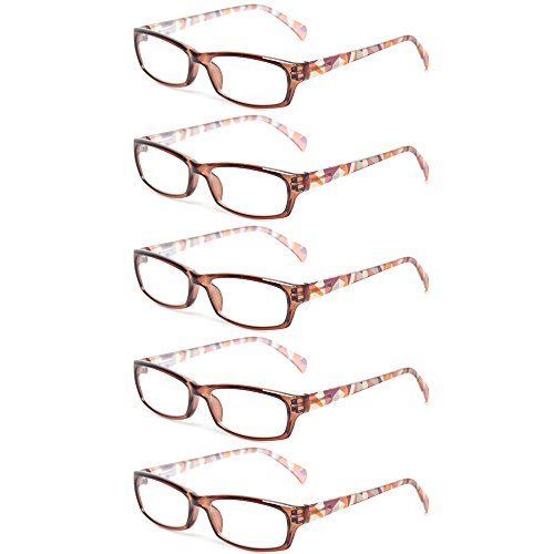 Reading Glasses 5 Pairs Fashion Ladies Readers Spring Hinge with Pattern Print Eyeglasses for Women (5 Pack Brown, 2.5) (Brown Glass Lens)