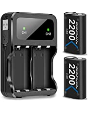 Xbox One Battery Pack 2x2200mAh Rechargeable Battery for Xbox One/Xbox One S/Xbox One X/Xbox One Elite Wireless Controller (Battery&Charger Set, Green)
