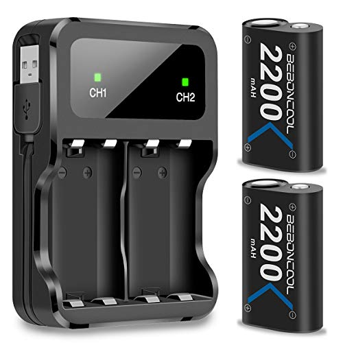 (BEBONCOOL Xbox One Battery Pack 2x2200mAh Rechargebale Battery for Xbox One/One S/One X/Xbox Elite Controller (Blue))