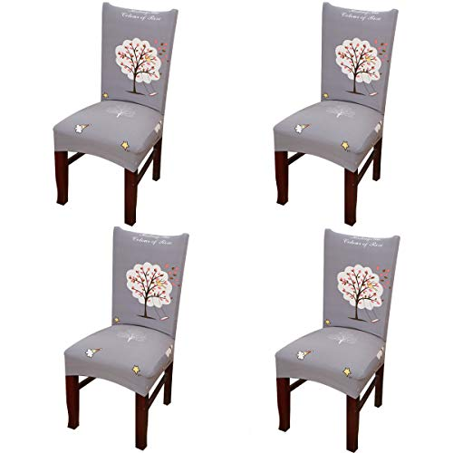 (Vonty Geometric Pattern Stretchy Dining Chair Covers Floral Removable Chair Slipcover Protector Set of 4, Childhood)