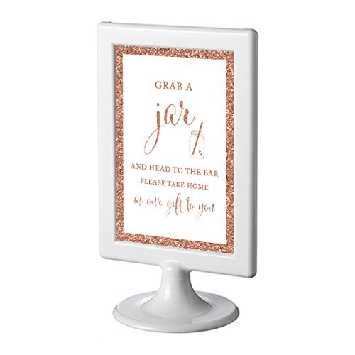 Andaz Press Framed Wedding Party Signs, Rose Gold Glitter, 4x6-inch, Grab Your Jar and Head to the Bar, Mason Jar Graphic, 1-Pack, Copper Champagne Colored Decorations