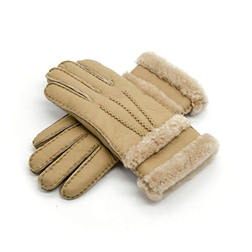 (The small cat 100% Pure Sheepskin Winter Gloves Women Real Sheepskin Cashmere Fur Warm Gloves,Yellow)