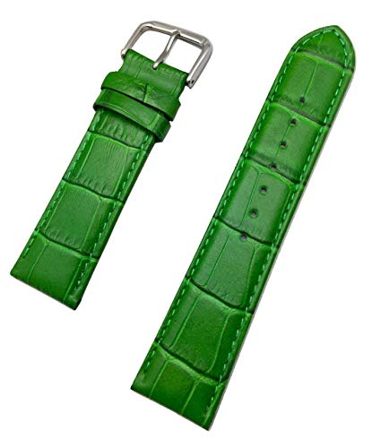 22mm Green Genuine Leather Watch Band   Square Alligator Crocodile Grained, Lightly Padded Replacement Wrist Strap That Brings New Life to Any Watch (Mens Standard Length)