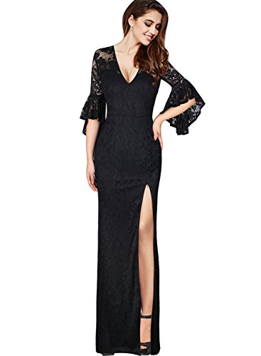 VfEmage Womens Sexy V-Neck Bell Sleeves Work Party Cocktail Sheath Dress 9179 Blk M
