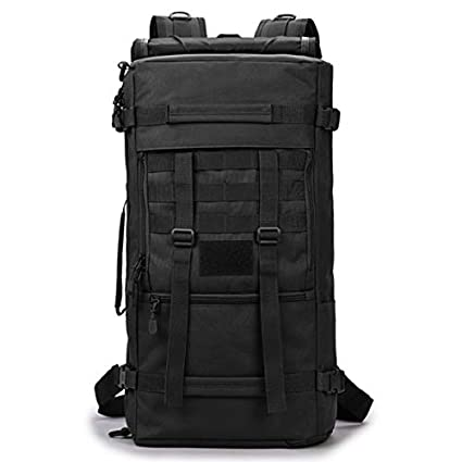 be55ea5b28c Amazon.com : 50L Tactical Backpack Waterproof Outdoor Bag Military Climbing  Bags Hiking Large Camping Travel Bag Large Black 50-70L : Sports & Outdoors