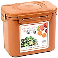 E-Jen Premium Kimchi, Sauerkraut Container Probiotic Fermentation with Inner Vacuum Lid (Earthenware Brown, 0.45 gal/ 1…
