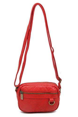 Small Crossbody Bag Wallet Purse Handbag Vegan Leather by Ampere Creations (Poppy Red)
