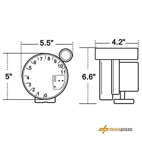 DEALSPLAZA 5'' inch 7 color LED 11K 12V Electronical RPM Tachometer Rev Counter Gauge With Red Shift Light WHITE Face Universal compatible 11000 Sport Meter Kit Car White by Dealsplaza (Image #2)