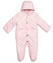 Leveret Quilted Baby Snowsuit (6 Months, Lt Pink)