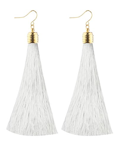 (Mina Gold Long Tassel Draping 4 inch Drop Extra Long Shoulder Duster White Earring)
