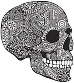 Amazoncom Detailed Elaborate Sugar Skull Black White Vinyl Decal