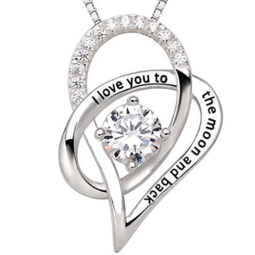 """Heart Necklace for Women Pendant - """"I Love You to the Moon and Back"""" Fashion Jewelry - Perfect for Love Gift Birthday Valentines Christmas (Floating Double Heart)"""