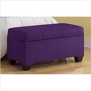 Skyline Furniture Upholstered Storage Micro-Suede Bench in Purple 8602STPPURPLE