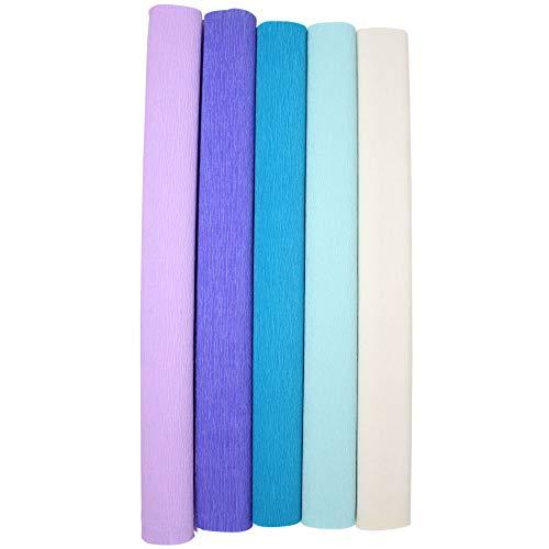 Just Artifacts Premium Crepe Paper Rolls - 8ft Length/20in Width (5pcs, Color: Mermaid)