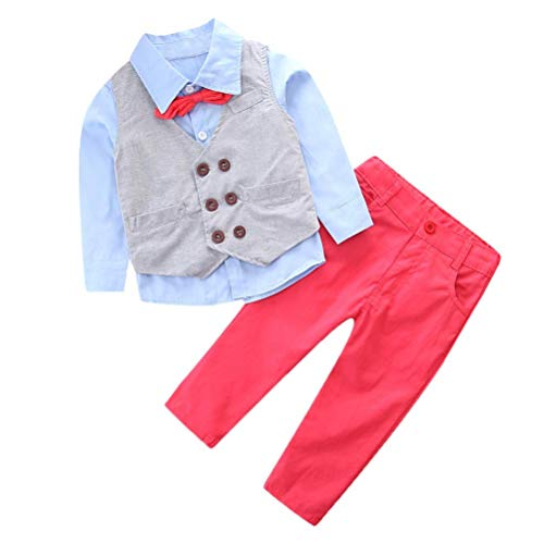 Boys Gentleman Sets,Jchen(TM) Baby Boys Kids Little Boy Gentleman Bow Tie Outfits Long Sleeve Shirt + Long Pants+Vest Clothes Set for 2-7 Y (Age: 4 T)