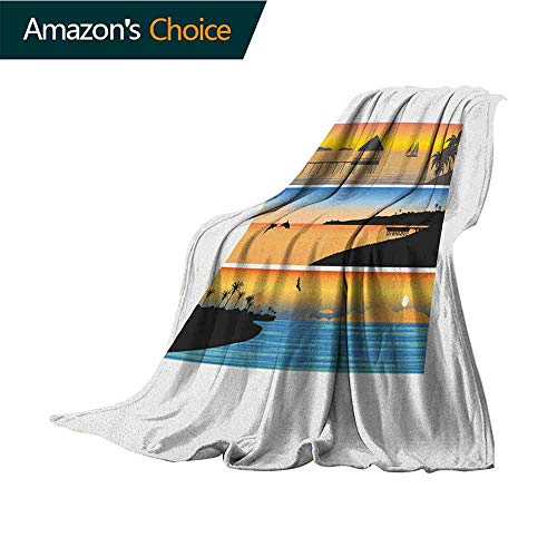(Beach Ultra Soft Flannel Blanket,Tropic Island Pattern with Horizontal Banner Style Composition Dolphins Birds Boats for Bed & Couch Sofa Easy Care,30