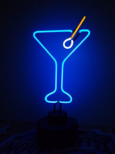 Ne-on Glass Tube Neon Sign Sculpture Blue Cocktails Neon Light Sign Neon Lamp with Plastic Base