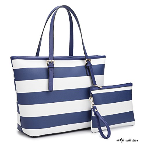 MKP Collection Large Classic Striped Tote with Free Matching Accessory Bag~Designer Handbag~Useful purse~Beautiful Satchel (7326) (Heart Open Top Tote)