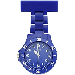 Top Plaza Women's Girls' Fashion Nurse Clip-on Fob Brooch Lapel Hanging Pocket Watch, Dark Blue