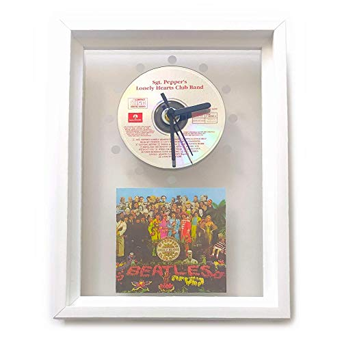 THE BEATLES - Sgt. Pepper's Lonely Hearts Club Band: FRAMED CD WALL CLOCK/With Cover Art