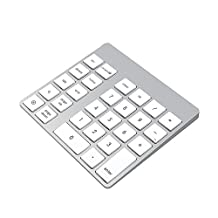 Cateck 28-Key Rechargeable Aluminum Bluetooth Wireless Keypad Number Pad Keyboard for iMac, MacBook Air, MacBook Pro, MacBook, and Mac Mini