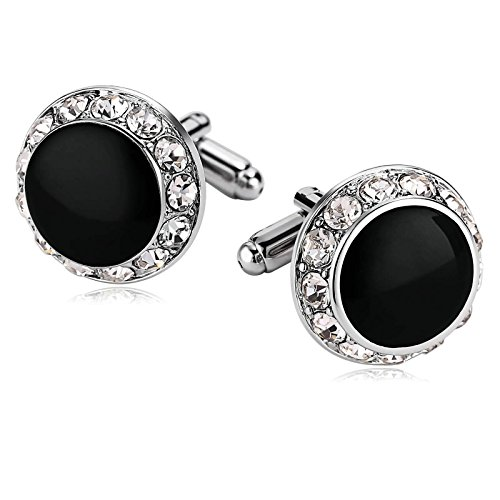 Cubic Zirconia Cufflinks (KnSam Stainless Steel Cufflinks for Mens Crystal Rounded Round Cubic Zirconia Silver)