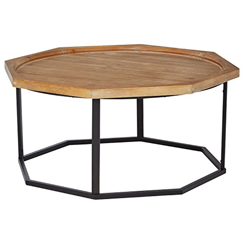 """Stone & Beam Aire Rustic Octagonal Wood Coffee Table, 39.5"""", Black & Natural"""
