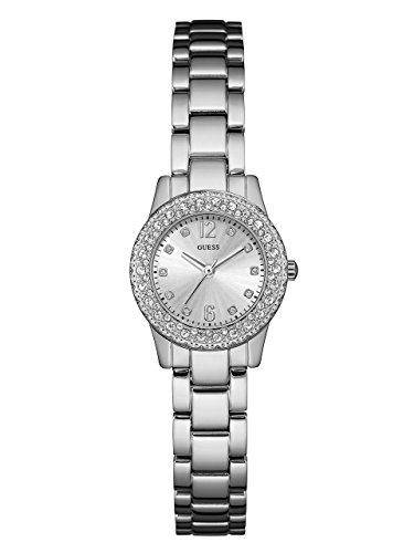 GUESS-Womens-U0889L1-Petite-Silver-Tone-Watch-with-Silver-Dial-Crystal-Accented-Bezel-and-Stainless-Steel-Pilot-Buckle