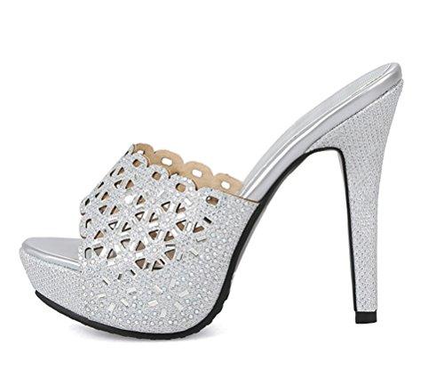 YE Damen High Heels Peep Toe Pantoffeln Slingback Sandalen mit Schleife Outdoor Slipper Sommer Schuhe