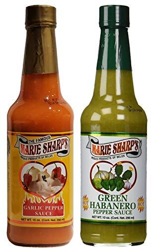 Marie Sharp's Garlic and Green Habanero Pepper Sauce 10oz (Pack of 2)