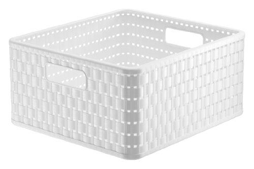 Rotho 1116801100 Aufbewahrungskiste Dekobox Country in Rattan-Optik aus Kunststoff (PP), quadratisch, Inhalt ca. 14 l, ca. 32.8 x 30 x 16 cm (LxBxH), weiss