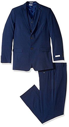 (Calvin Klein Boys' Big Bi-Stretch 3 Piece Suit, Dark Blue, 10)