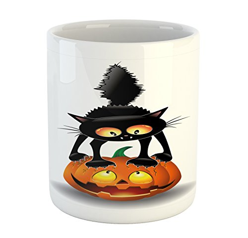 Ambesonne Halloween Mug, Black Cat on Pumpkin Drawing Spooky Cartoon Characters Halloween Humor Art, Printed Ceramic Coffee Mug Water Tea Drinks Cup, Orange Black -